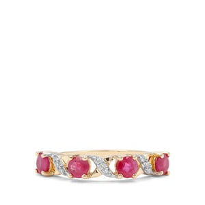 Burmese Ruby & Diamond 9K Gold Ring ATGW 1.11cts