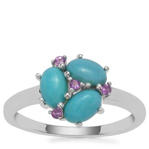 Sleeping Beauty Turquoise Ring with Bahia Amethyst in Sterling Silver 1.37cts