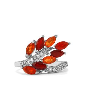 Mexican Fire Opal Ring with White Zircon in Sterling Silver 1.37cts