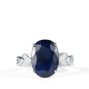 Madagascan Blue Sapphire & White Topaz Sterling Silver Ring ATGW 8.45cts