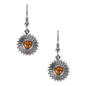 Baltic Cognac Amber Earrings in Sterling Silver (4mm)