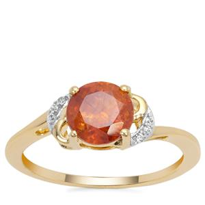Sphalerite Ring with White Zircon in 9K Gold 1.83cts