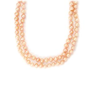 Peach Freshwater Cultured Pearl Necklace - Approx 64
