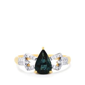 Nigerian Blue Sapphire Ring with Diamond in 18k Gold 1.47cts