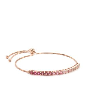 Pink Tourmaline Slider Bracelet with White Topaz in Rose Gold Plated Sterling Silver 2.38cts