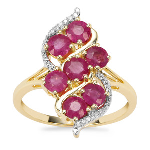 Burmese Ruby Ring with Diamond in 9K Gold 1.83cts