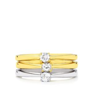 White Topaz Set of 3 Stacker Rings in Two Tone Gold Plated Sterling Silver 0.40ct