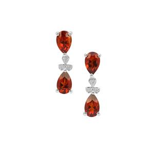 Madeira Citrine & White Zircon Sterling Silver Earrings ATGW 3cts