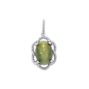 Green Cat's Eye Pendant in Sterling Silver 7.42cts