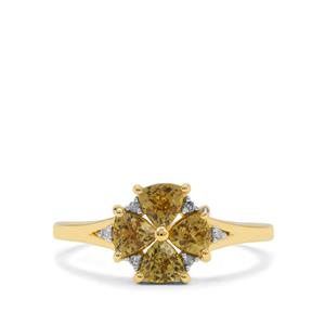 Mali Garnet Ring with Diamond in 9K Gold 1.10cts