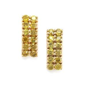 Apache Demantoid Garnet Earrings  in 18k Gold 1.18cts