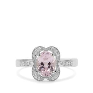 Brazilian Kunzite Ring with White Zircon in Sterling Silver 1.96cts