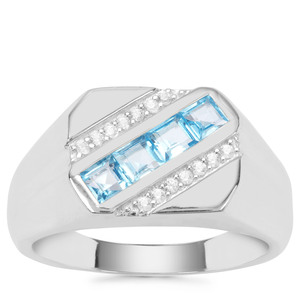 Swiss Blue Topaz Ring with White Zircon in Sterling Silver 1.16cts