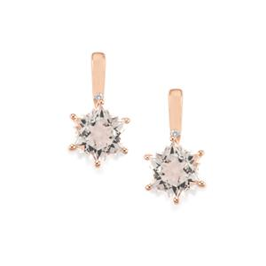 Itinga Petalite Wobito Snowflake Earrings with Diamond in 9K Rose Gold 3.82cts