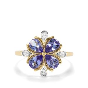 AA Tanzanite & Diamond 9K Gold Ring ATGW 1.51cts