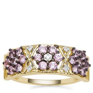 Sakaraha Pink  Sapphire Ring with Diamond in 9K Gold 0.96ct