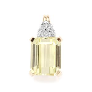 Minas Novas Hiddenite & Diamond 9K Gold Pendant ATGW 4.61cts