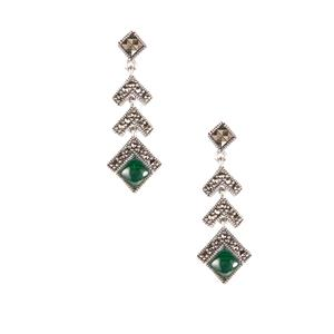Malachite Jewels of Valais Earrings with Natural Marcasite in Sterling Silver 1.51cts