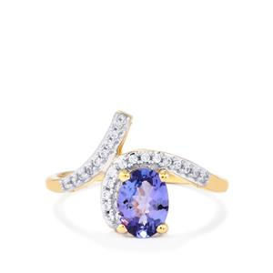 AA Tanzanite Ring with White Zircon in 10k Gold 1.07cts