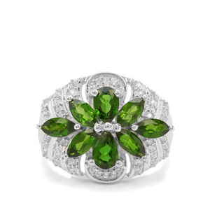 Chrome Diopside & White Zircon Sterling Silver Ring ATGW 3.08cts
