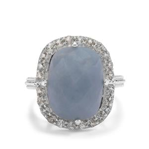 Angelite & Sky Blue Topaz Sterling Silver Ring ATGW 10.98cts