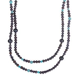 Kaori Cultured Pearl Endless Necklace with Turquoise
