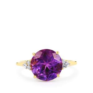 Moroccan Amethyst & White Zircon 9K Gold Ring ATGW 3.50cts