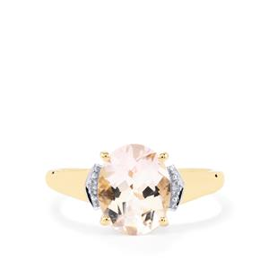 Alto Ligonha Morganite Ring with Diamond in 10k Gold 2.23cts