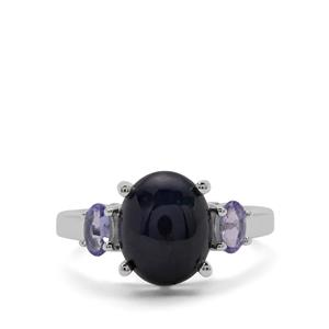 Madagascan Blue Star Sapphire Ring with Tanzanite in Sterling Silver 6.34cts