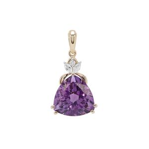 Moroccan Amethyst Pendant with White Zircon in 9K Gold 7.79cts