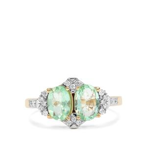 Paraiba Tourmaline Ring with Diamond in 18k Gold 1.57cts