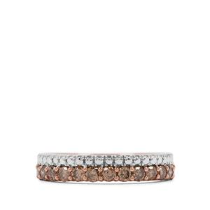 Champagne Diamond Ring in Rose Gold Plated Sterling Silver 0.71ct