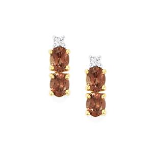 Bekily Color Change Garnet Earrings with White Zircon in 10k Gold 1.72cts