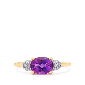 Moroccan Amethyst & White Zircon 10K Gold Ring ATGW 1.25cts