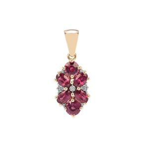 Comeria Garnet Pendant with White Zircon in 9K Gold 2.43cts