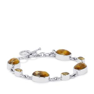 Yellow Tigers Eye Bracelet with Rio Golden Citrine in Sterling Silver 26.50cts