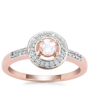 Rainbow Moonstone Ring with White Topaz in Rose Gold Plated Sterling Silver 0.42cts