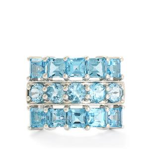 5.61ct Swiss Blue Topaz Sterling Silver Ring