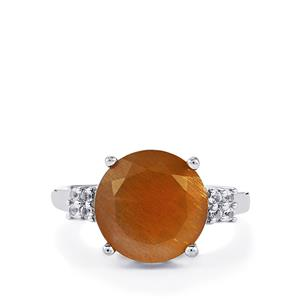 Shinyanga Sunstone & White Topaz Sterling Silver Ring ATGW 5.76cts