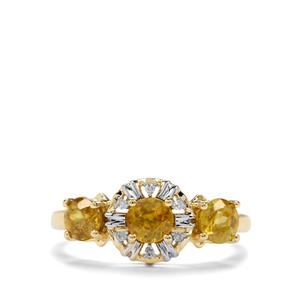 Sambava Sphene & Diamond 9K Gold Ring ATGW 1.34cts