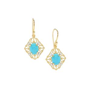 Sleeping Beauty Turquoise Earrings with White Zircon in Gold Plated Sterling Silver 3.36cts