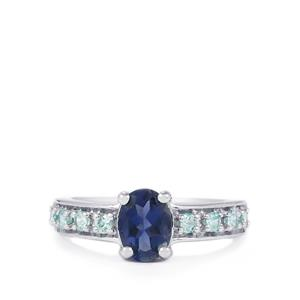 Bengal Iolite Ring with Ratanakiri Blue Zircon in Sterling Silver 1.42cts