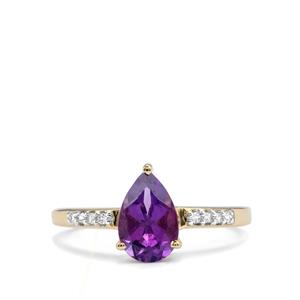 Kenyan Amethyst Ring with White Zircon in 10K Gold 1.27cts