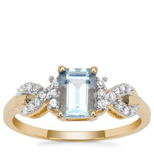 Santa Maria Aquamarine Ring with White Zircon in 9K Gold 1cts