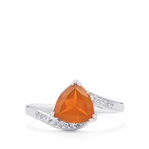 AA Orange American Fire Opal & White Topaz Sterling Silver Ring ATGW 1.24cts