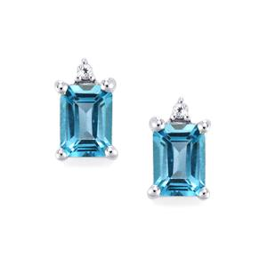 2.24ct Swiss Blue & White Topaz Sterling Silver Earrings