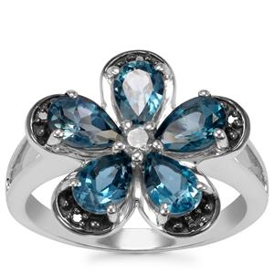 Marambaia London Blue Topaz Ring with Blue Diamond in Sterling Silver 2.78cts