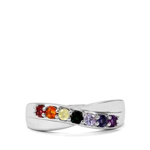 0.51ct Rainbow Gemstones Sterling Silver VIBGYOR Ring
