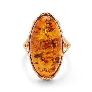 Baltic Cognac Amber Gold Tone Sterling Silver Ring (25 X 13mm)