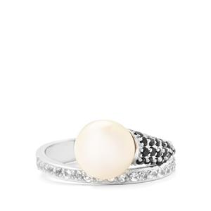 White Freshwater Cultured Pearl & Black Spinel Sterling Silver Ring